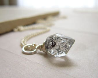 Herkimer Diamond Jewelry - Herkimer Pendant - Raw Crystal Jewelry Handmade  - Crystal Pendant for Necklace - Double Terminated Quartz Point