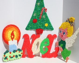 Vintage Christmas Melted Popcorn Plastic Melt Christmas Holiday Party Decor Angel Noel Candle Christmas Tree Set of 4