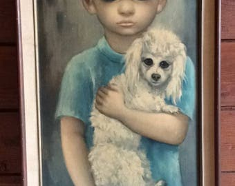 Vintage 60's Margaret Keane Print//No Dogs Allowed//Illinois Moulding Co.