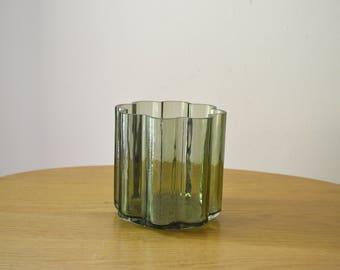 Mid Century DANSK Olive Green Glass Vase Jens Quistgaard Design