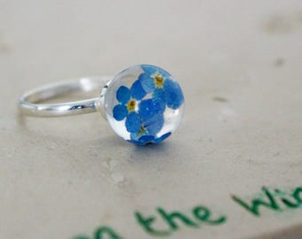 Forget me Not Sterling Silver Ring, Real Flower Jewellery, Botanical Ring, Pressed Flower, Remembrance Jewelry