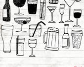 Alcohol Clipart - 17 Hand Drawn drink Cliparts - alcoholic drinks clipart - Logo Elements - drink vector - ACGABW28