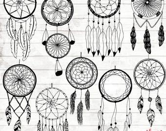 Boho Dream Catcher Clipart - Hand Drawn Dreamcatcher Clipart - Vector Tribal Art - Digital Paper - Boho Clip Art - Boho art - ACGABW04