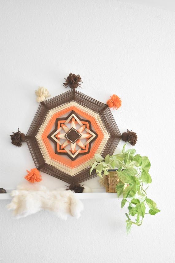 """29"""" large vintage orange fiber art god's eye wall hanging / mandala / boho hippie decor"""