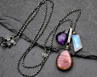 Purple Labradorite Necklace, Rare Pink Purple Flash Labradorite, Rainbow Moonstone & Amethyst Pendant, Oxidized Silver Gemstone Necklace