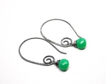 Oxidized Silver Chrysoprase Earrings, Petite Vibrant Apple Green Chrysoprase Dangles, Flawless AAA Rated Natural Gemstone Spiral Earrings