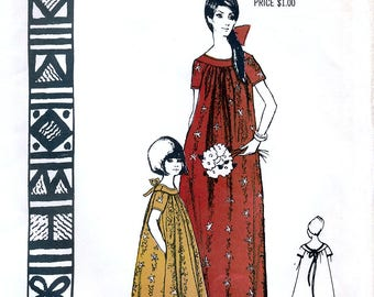 Polynesian Pattern 124 Vintage 70s Sewing Pattern for Misses' Luau Dress - Uncut - Size Medium - Bust 34-36