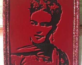 La Maestra . Our Lady of Art: Frida Kahlo, Patron Saint  - Glow in the Dark RED VELVET canvas with red glitter frame