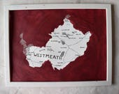 County Westmeath map art - 30 cm x 40 cm  - wall poster - custom fantasy art