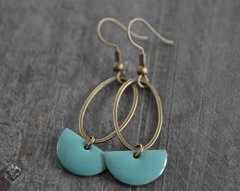 Boucles d'oreilles pendantes, Boucles d'oreilles bleu, Boucles d'oreilles rose, Bijou boho, Coco Matcha