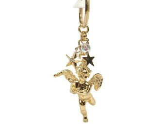Kirks Folly Cherub Key Chain Ring with Crystals and Stars