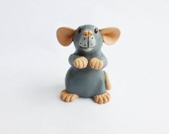 Grey Marten Dumbo Rat Fancy Rat Sculpture Pet Rat Ornament Polymer Clay Mouse