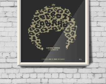 DETROIT COBRAS screen print gig poster - Boston, MA - records, michigan, rock band, skull, earring, leopard, art, female, women, smoke
