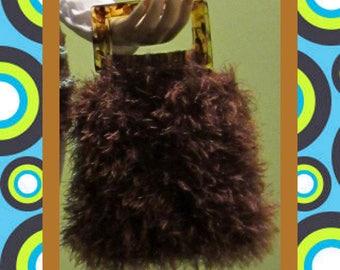 Fun Fur Handbag, Original Design Colorful Handbags, Colorful Fun Fur Bag, Crochet Handbag, Funky Bag,Artistic Women's Handbag