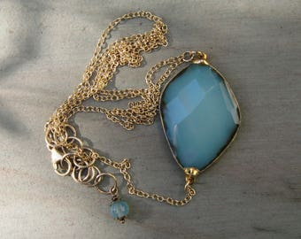 See Full Length! - Long Blue Chalcedony and Gold MINIMALIST Necklace - 24K