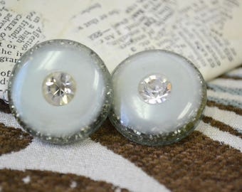 1960s Lucite and Rhinestone Lucite Glitter Post Back Earrings