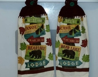 Camping Cabin themed Crocheted Kitchen Fingertip Towel vintage button closure bear woods campfire lodge welcome lake pond falling leaves