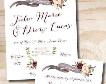 Watercolor Floral Banner Wedding Invitation Response Card Invitation Suite, Outdoor Wedding, Bohemian, Floral - Invitation - Response