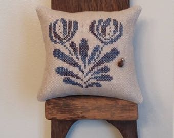 primitive cross stitch sampler BLUE GLAZED STONEWARE inspired pin pillow D2-6
