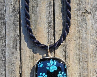 Fused Dichroic Art Glass Dog Paw Pendant with Satin Cord