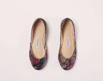 Handmade Leather Ballet Flats | Purple Galaxy | Ballet Flats | Last two pairs, eu 37 and 38 | Ready to Ship