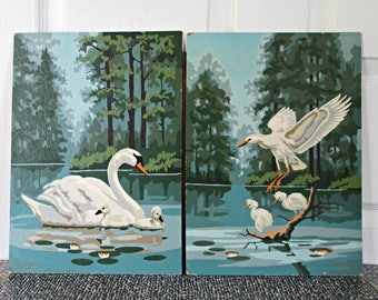 Vintage Paint By Number Pair of Water Bird Lake Landscapes | Swan and Babies | Egret and Babies | Pair of Birds, Lake, Forest Paintings