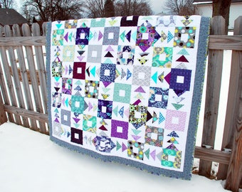 Handmade Quilt, Throw Blanket, Lap Quilt, Modern Patchwork - Scrappy Flying Arrow Geese