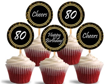 80th Birthday Cupcake Toppers, Cheers to Eighty Printable Cupcake Toppers, Favor Tags, 80th Theme Party Decorations - DP480