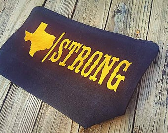 Texas Strong Hurricane Harvey Large Makeup Bag black and Copper Foil