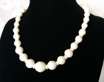 Multifaceted Milk Glass Necklace, Milk Glass Bead Necklace, Milk Glass Jewelry