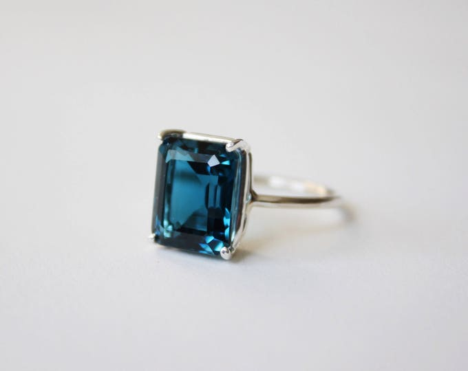 London Blue Topaz Ring - large sterling silver faceted london blue topaz emerald cut ring - london blue topaz engagement ring - unique ring