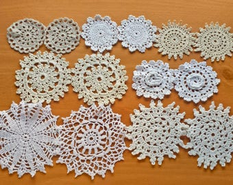 14 Vintage Doilies in Natural Colors, Beige, Ecru, White, and Off White Small Crochet Doilies, 2.4 to 4.5 inch Doilies, Crochet Mandalas