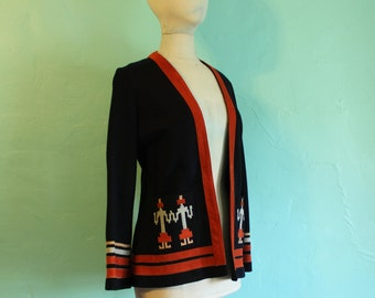 Vintage 1970's Wool Southwestern Jacket with Suede Applique by Ms. Pioneer - Size Med US 12