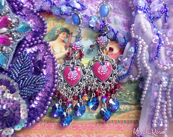 Sparkly Fuchsia Pink, Blue & Red Sacred Heart Silver Swarovski Crystal Chandelier Earrings, Fantasy Roses, Hearts, Anahata Chakra, Victorian