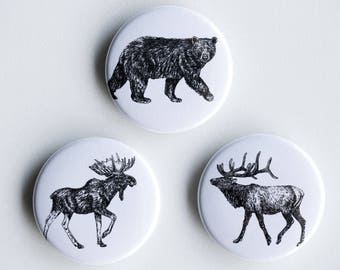 "Bear, Elk, Moose Pins - Big Boys Pin-Back Buttons - Set of 3 Pin-Back Buttons - 1.5"" - Woodland pin Animal pin Pingame Badges"