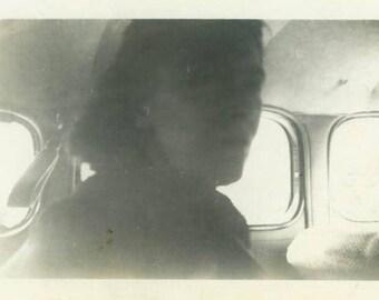 "Vintage Photo ""The Reluctant Passenger"" Snapshot Antique Black & White Photograph Paper Found Ephemera Vernacular Interior Design Mood - 129"