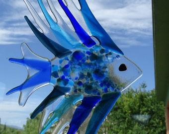 Medium size Fused glass fish chime