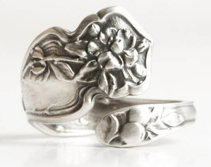 Cherry Blossom Ring, Floral Ring, Sterling Silver Spoon Ring, Japanese Cherry Blossom Flower, Nature Inspired, Adjustable Ring Size (6841)