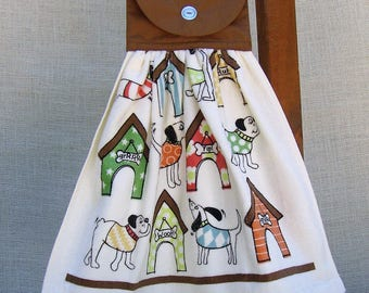 Dog Themed Kitchen Towel, Gift for Dog Lover, Towel with Dogs, Hanging Hand Towel, Hanging Towel, Kitchen Towels