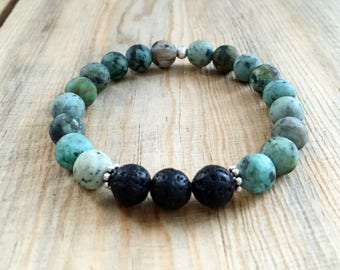 African Turquoise Essential Oil Diffuser Bead Bracelet
