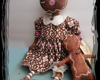 Prim Ginger Bread Annie and Friends/ Holiday Doll/  Digital E Pattern/ Rag Dolls / Primitive Dolls / Special Order/ Gingerbread Ornament