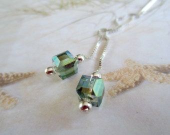 Sterling Ear Threads-Cubic Crystals