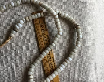 Antique Milk Glass Padre 6 x 9mm Trade Beads Glass 4mm hole- B4G