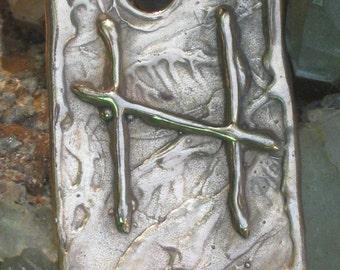 RUNES.Elder Futhark Bronze Rune of Natures Destruction HAGALAZ / HAIL..Rune Pendant.Organic Texture.Magical Rune.Magical Charm.Viking Runes