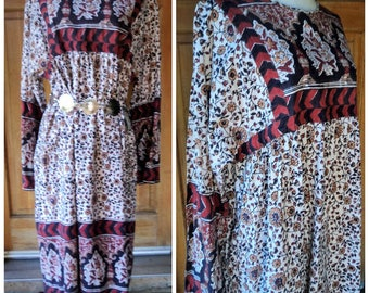 Vintage 60s Hippie Dress Tapestry Block Print Pockets Flared Sleeves 1960s Hippie OS Free Size Plus Size vintage 46 B