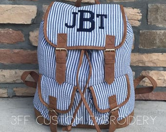 Monogrammed Seersucker Backpack, Diaper Bag, Backpack Diaper Bag, Overnight Bag