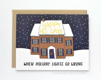 Funny Christmas Card - Happy Holidays Card - Holiday Lights