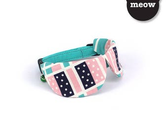 GOOOD Cat Collar   Dapper Round - Dreamy Dominoes   100% Pink & Turquoise Cotton Fabric   Safety Breakaway Buckle