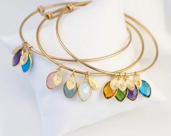 Family Tree Grandmothers Birthstone Bangle, Mommy Bracelet, Custom Initial Bracelet, Personalized Charm Bracelet, Gift for Grandma Christmas