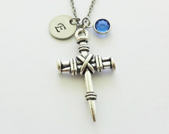 Cross Necklace, 3 Nail Cross, Christian, Religious, Confirmation, Swarovski Birthstone, Silver Initial, Personalized Monogram, Hand Stamped